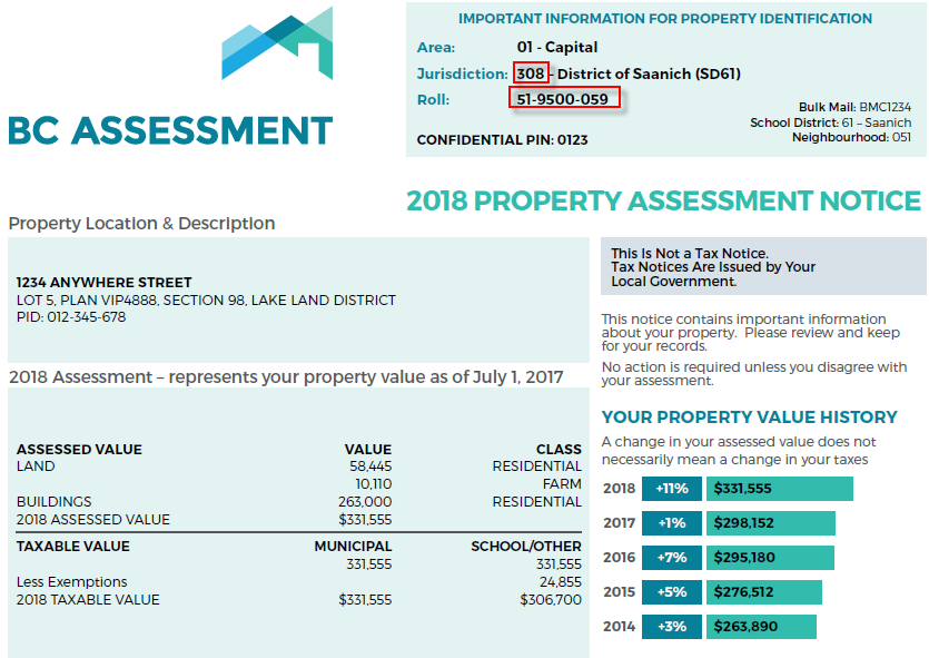 find the assessed value of land parcel id